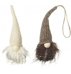 A mix of 2 hanging Santa decorations in woodland colours. A cosy knitted item for the home this season.