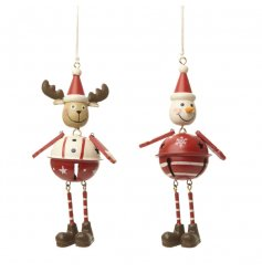 An assortment of 2 metal hanging decorations in snowman and reindeer designs. Each has a festive bell.