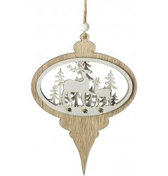 A rustic style wooden bauble shaped decoration with a reindeer woodland scene. Complete with bead and jute string hanger