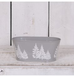 A grey and white tree design trough planter. Ideal for planting, hampers and storage. A lovely gift item.