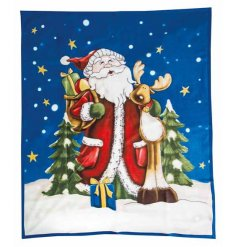 A super cosy and soft to touch Santa and Reindeer design fleece blanket. Perfect for snuggling up in this season.