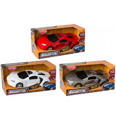 Collect this assortment of friction powered street racers in red, silver and white racing colours.