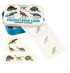 Cover and protect cuts and scrapes with a brave and awesome dinosaur plaster. This retro style metal tin holds 30 plaste