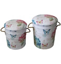 Bring a touch of summer to your home decor or displays with this charming set of sized metal storage stools