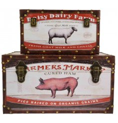 Introduce a rustic living inspired edge to any Country Home themed decor with this assorted set of sized storage trunks
