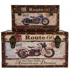 these stylish Motorcycle and Route 66 inspired storage trunks will bring in an American Dream theme to any home