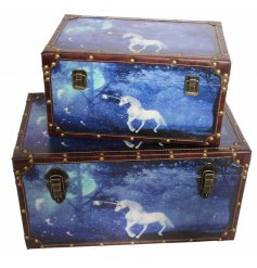 these stylishly mystical unicorn themed storage trunks will bring in those magical feels to any interior