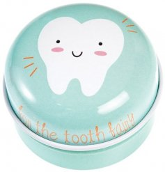 Safely store your fallen tooth in this charming metal tin ready for the tooth fairy to collect and return with pennies.