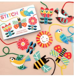 Have fun and get creative whilst learning to stitch. The pack includes 8 colourful cards with string.