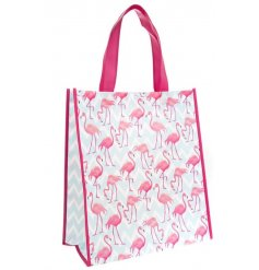 A stylish, re-usable shopping bag with a bright and beautiful flamingo design.