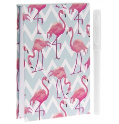 A stylish memo pad with pen with a bright and bold flamingo design. A stylish gift item and stationery product.