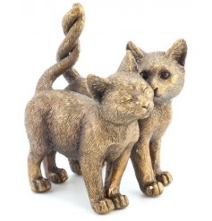 An adorable twin cats ornament. A fine quality and cute interior decoration and gift item.