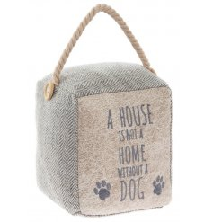 A rustic style herringbone fabric doorstop with a chunky rope handle and stitched dog slogan.