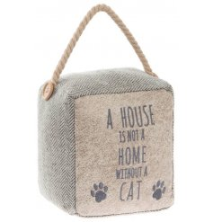 A chic and stylish herringbone fabric doorstop with a popular cat slogan and chunky rope handle