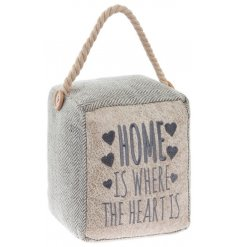 A chic herringbone fabric doorstop with a stitched home slogan and chunky rope handle with button detailing.
