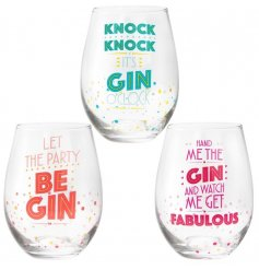 A mix of 3 colourful slogan gin glasses. A popular gift item with a unique design.
