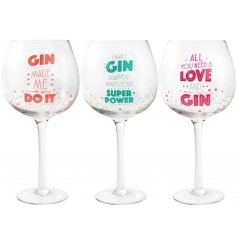 An assortment of 3 colourful and quirky slogan gin glasses. A popular gift item in a mix of colours.
