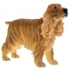 A fine quality brown cocker spaniel dog figurine with gift box.