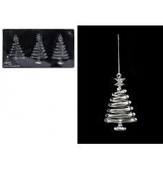 A set of 3 glass tree decorations. A chic ornament for the home this season.