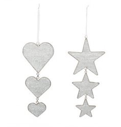 A mix of 2 heart and star drop decorations with beads. A chic and stylish accessory for the home.