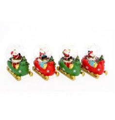 A mix of 4 red and green Christmas sleighs decked out with gifts galore and a jolly Santa nestled within a snow globe.