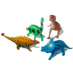 Twelve assorted dinosaurs in a variety of sizes