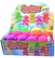 An assortment of colourful flashing teddy bear toys, each with a gold bow. A fun pocket money toy for kids.