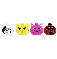 An assortment of colourful silicone coin purses in popular animal designs.