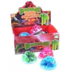 An assortment of colourful dinosaur figures with volcano putty. A fun pocket money toy for kids.