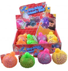 A glittery, light up ball. Squeeze the squidgy jelly through the mesh. A fun pocket money priced toy.