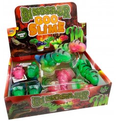 Brightly coloured slime in a dinosaur shaped container