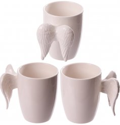Bring an angelic touch to your kitchenware with this charming wing handled mug