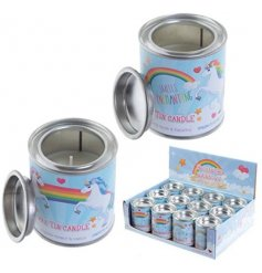 A metal tin pot decorated with magical unicorn decals, filled with a sweetly scented wax candle