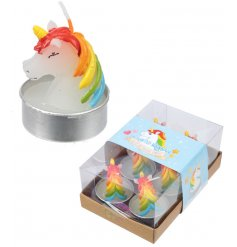 Bring a magical Unicorn touch to your home decor or bedroom space with this charming set of tlight candles