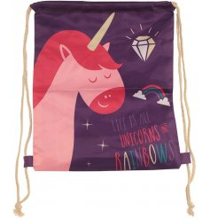 this enchanted unicorn themed draw string bag will be sure to come in handy for any occasion!