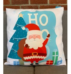 Snuggle up this season with this bright and bold Santa character Christmas cushion.