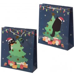 this navy blue toned gift bag will be sure to bring an added Christmas feel to your gift giving occasions this season