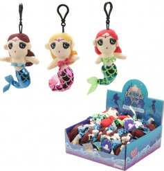 A plush assortment of hanging mermaid keyrings, each decorated with their own hair colour and shiny tail tone