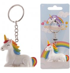 From the Enchanted Rainbows Range is this magical little unicorn keyring