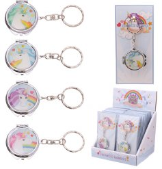 From the Enchanted Rainbows Range are these assorted Unicorn themed Mini Mirror Keyrings