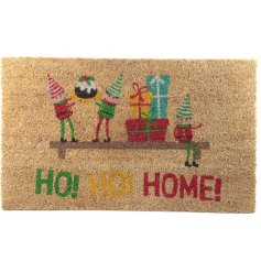 A festive themed doormat featuring a little elf illustration and 'Ho! Ho! Home! text