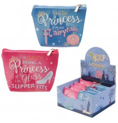An assortment of 2 princess slogan purses with a pvc finish.
