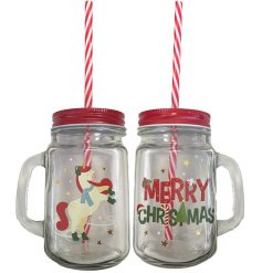 Christmas mason drinking jar unicorn themed