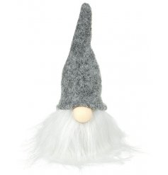 A charming gonk decoration with a tall grey woolly hat. A top trending festive decoration this season.
