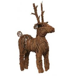 A rustic rattan reindeer in natural. A must have country living, shabby chic decoration for the home this season.