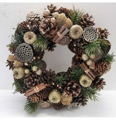 A fine quality, full and fabulous Christmas wreath with pinecones and gold glitter fruits.