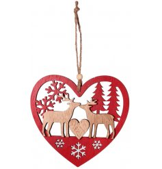 Bring s sweetheart Charm to your tree decor at Christmas time with this simple yet chic hanging wooden decoration