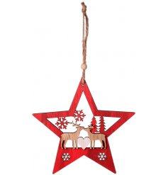 A festive red toned hanging wooden star decoration complete with a cute reindeer couple