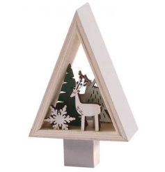 A simple yet sweet standing triangular decoration filled with a wooden reindeer scene