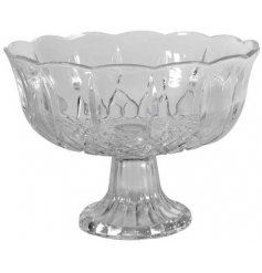 A chic vintage glass bowl with stand. A lovely decorative gift item.